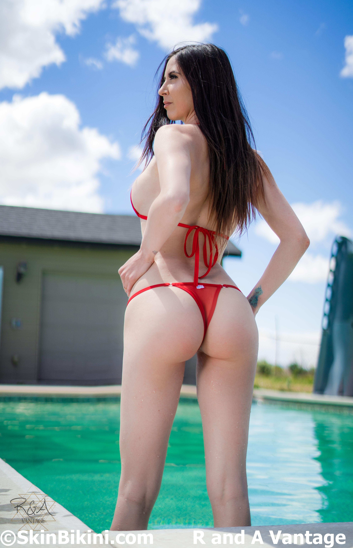 BY-4003 Mini Bikini Thong See-Through Mesh Swimwear orange front view side